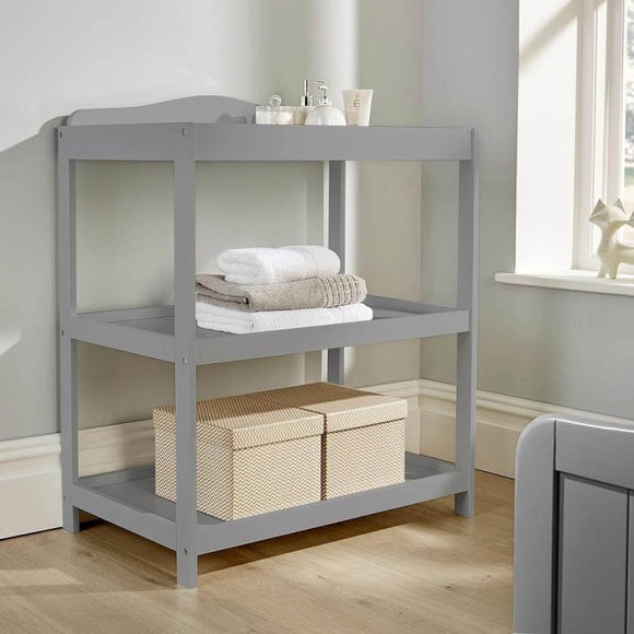 3 Tier Open Baby Changing Unit for Baby's Nursery | Pebbles Grey