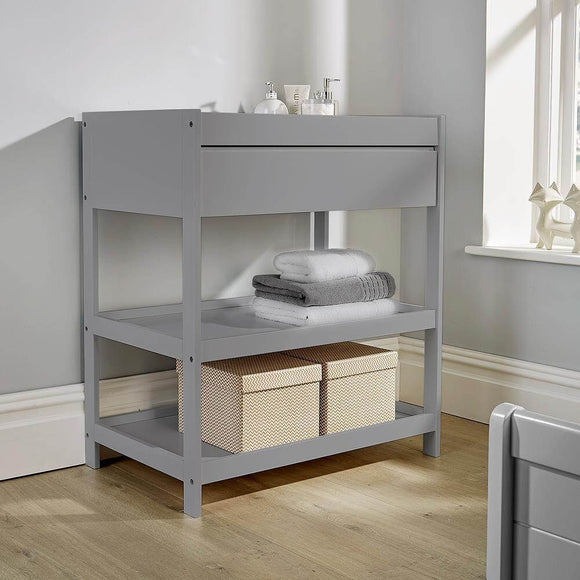 3 Tier | Full Width Drawer Open Baby Changing Unit for Baby's Nursery | Pebbles Grey