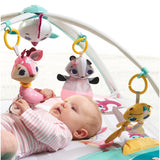 Super cute removable woodland friends hang from the arches in lovely candy colours to keep your little one entertained