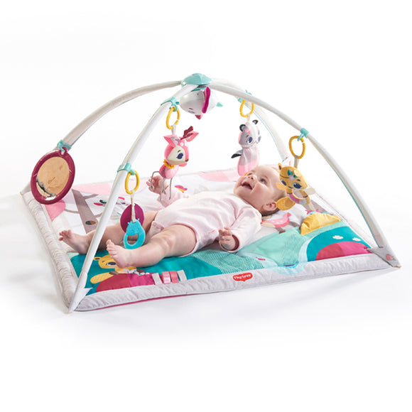 This multi sensory 2-in-1 woodland friends baby play mat with a super cute bird toy offers engaging lights & music