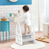 Toddler's Multi-Use Chunky and Funky Non Slip Plastic Step Stool | White & Grey