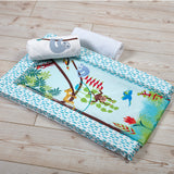 Rainforest wedge changing mat with tropical rainforest tones and soft padding