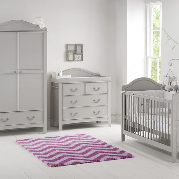 Eco-Conscious 3 Piece Baby Nursery Furniture Set | Whisper Grey | Versailles Collection