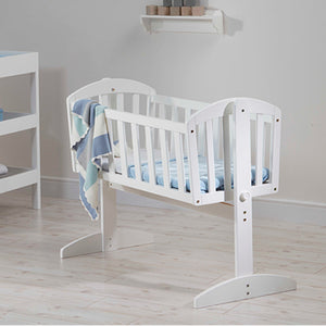 Tidy and elegant finished white wooden crib, perfect for newborn to 6 months.