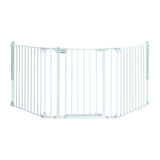 Our white metal modular stair gate is suitable for wide openings or open spaces from 82 to 226 cm