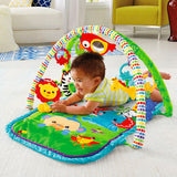 Five toys and an cute take-along musical lion with fun sounds and 2 music modes on a comfy, padded, portable baby play mat