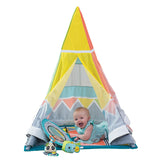 Large mirror and cute animals on the mobile adorn this colourful baby teepee cum baby play mat - something unique.