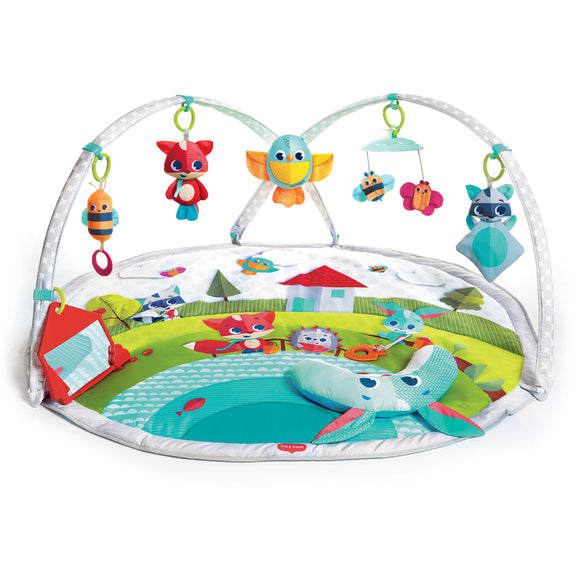 Our 'Woodland Wonders' theme baby gym mat is a uniquely versatile activity baby gym with adjustable moving arches that adapt to baby's age and stage,