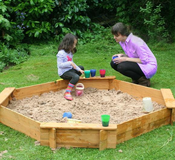 Large Heavy Duty Pre-treated Wooden Sandpit with Seats & Rain Cover | 1.8m diameter | 18m+