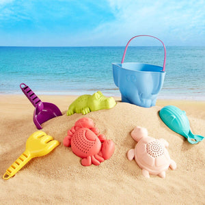 7 Piece Non-Toxic Super Safe Large Pieces Sand & Water Bath Toy  | Toys for Sand Pit | 18m+
