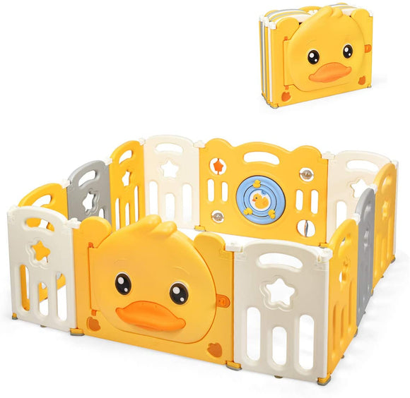 This cute duck themed baby playpen is modular so you can create different shapes