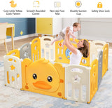 This colourful and bright baby playpen includes a safety door lock and plenty of space for you to play with baby