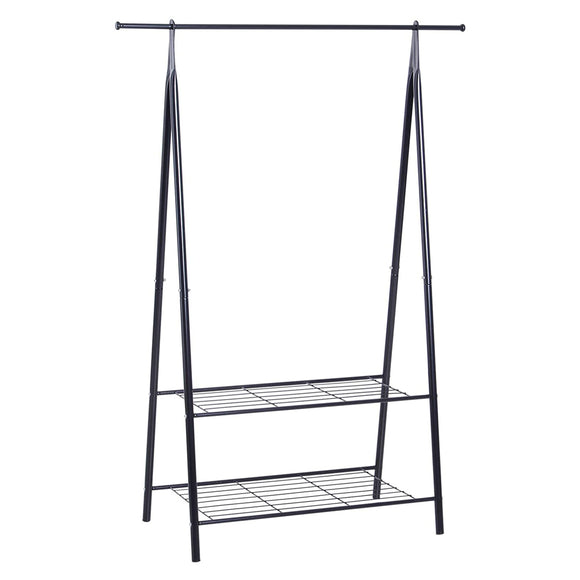 Sleek Powder Coated Dressing up Rail with Shoe Rack | Charcoal Grey | 1.47m High