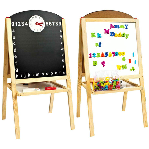 Kids Pine Wood Blackboard & Whiteboard with Clock, Chalks & 104pc Magnetic Letter & Number Set  | 3 Years+