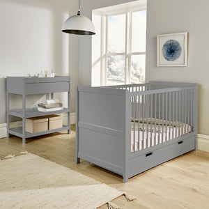 2-in-1 Height Adjustable Cot Bed with Undercot Storage converting to a Junior Bed and crafted from solid wood in warm grey