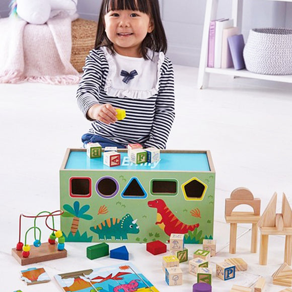 8-in-1 Educational Wooden Dinosaur Toy cum Multi Activity Toy with a Shape Sorter, building blocks, Alphabet Blocks and more