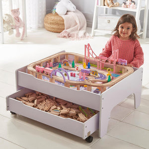 This Girls Wooden Train Set,  2-in-1 Wooden Train Table with Reversible Top & 100 piece train set makes the perfect gift