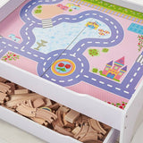 This wooden train set and wooden train table in white with a reversible top makes the perfect gift for any little princess