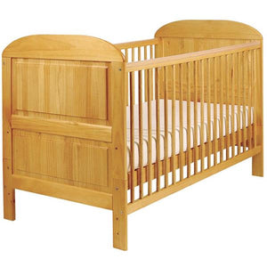 Crescent Wooden Cot Bed | 2-in-1 Cot Bed | Honeycomb Pine