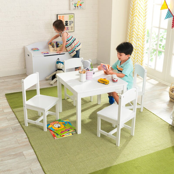 Children's Solid Wooden Table & 4 Chairs Set | White | 3 Years+