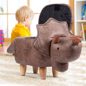Kids 4-in-1 Stool, Storage Box, Footrest & Seat | Dinosaur Design