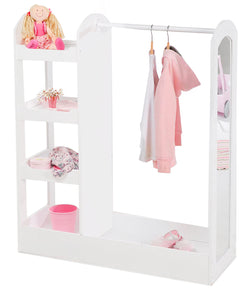 Childrens | Girl's Montessori Dress Up Rail | 4 Tier Shelves & Mirror | White | 1.07m high