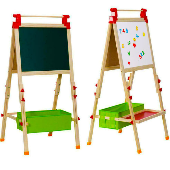 Kids Height Adjustable Pine Wood Blackboard & Whiteboard with Accessory Kit  | Storage | 3-10 Years