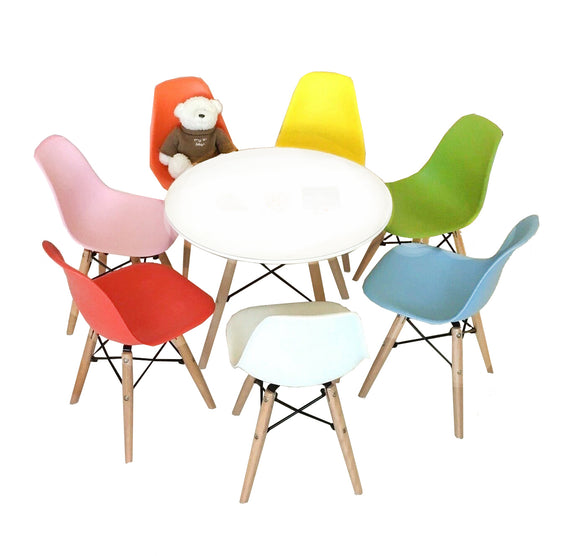 kids modern round table and mix and match eiffel chairs