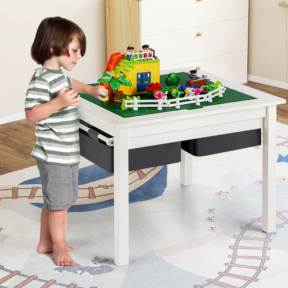 Wooden 3-in-1 Kids Lego Table | Activity Table | Large Storage Drawer | White | 3-8 Years