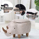 Fun and adorable rhinoceros storage stool, seat and footrest