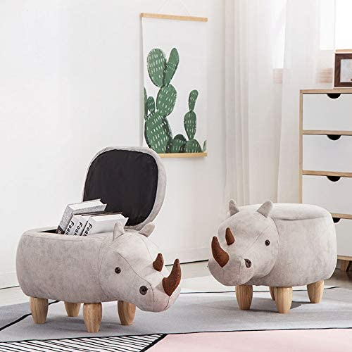 Kids 4-in-1 Stool, Storage Box, Footrest & Seat | Super Cute Rhino Design