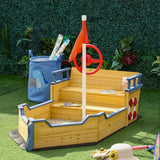 Made from strong cedar wood, this pirate ship sandpit has realistic features including flags, rudders, life buoy and ​flag