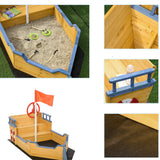 Childrens Eco Conscious Robust Cedar Wood Pirate Ship Sandpit and Sandbox | 3-6 years
