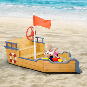 Childrens Robust Cedar Wood Pirate Ship Sandpit and Sandbox | 3-6 years