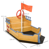 The overall dimensions of this pirate ship sandpit are Overall Dimension: 158cm long x 78cm wide x 45.5cm high