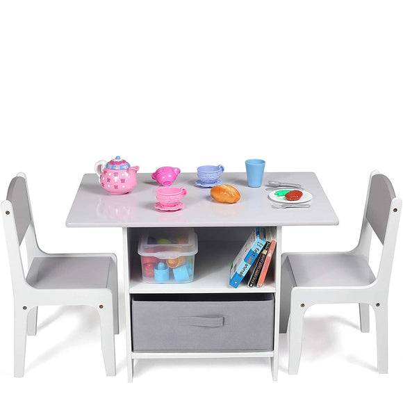 Childrens Scratch-resistant Wooden Table and 2 Chairs Set with Large Storage Drawers | White & Grey
