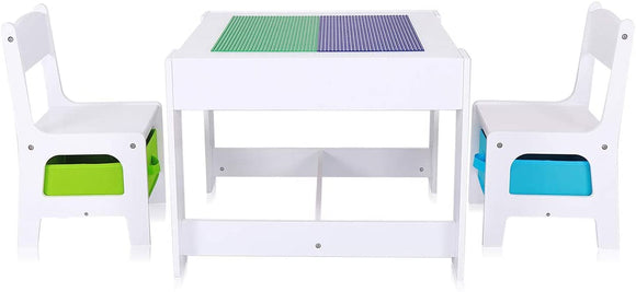 Kids 3-in-1 Wooden Table & Chairs Storage Drawers in Lime Green and Electric Blue with Reversible Lego Board Desk Top