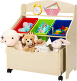 With 3 bright coloured plastic boxes and a large wooden wheeled box, this storage unit offers ample storage space