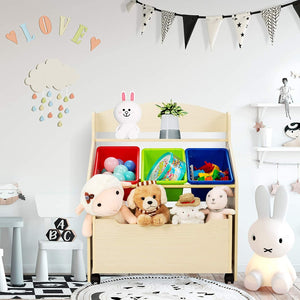 Childrens | Kid's Wooden Bookcase & Toy Storage Unit | Rollout Drawer & Boxes
