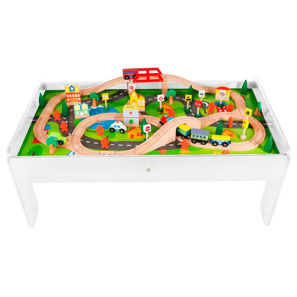 2-in-1 Wooden Train Table & City Play Table | 90pc Train Set | White