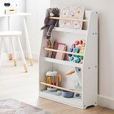 Childrens | Kids 3 Tier Wooden Bookcase |  Storage  | White | 81cm High
