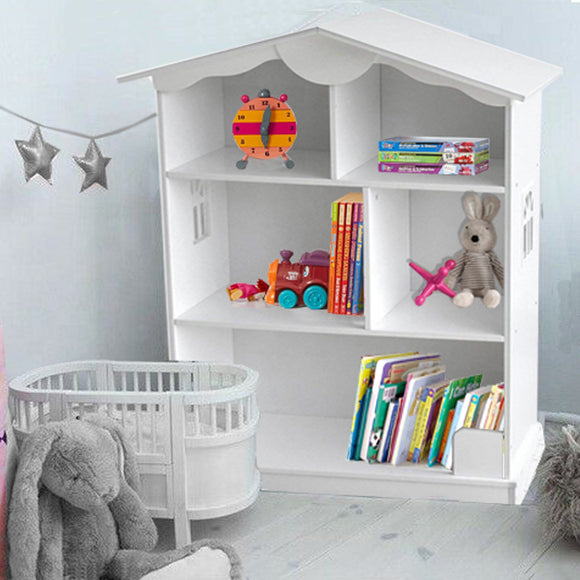 Large 3 Storey White Wooden Montessori Dollhouse Bookcase and Toy Storage - 1m High