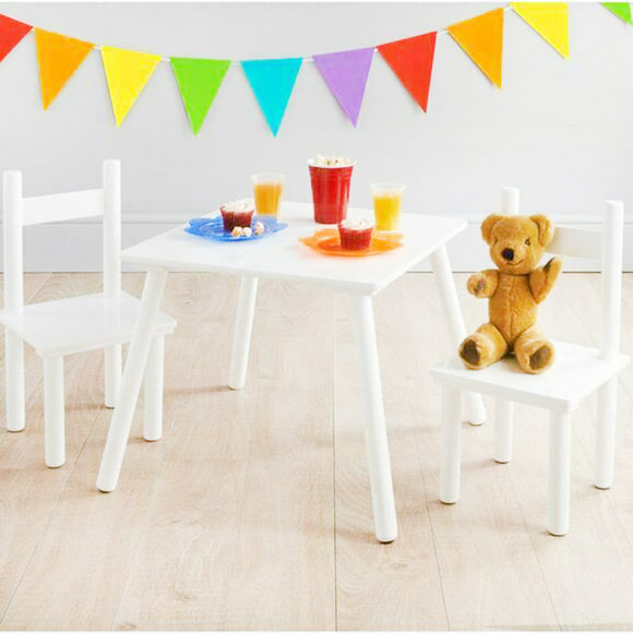 This lovely clean and simple white wooden table and chair set is ideal for all sorts of activities for children aged 3 years and up