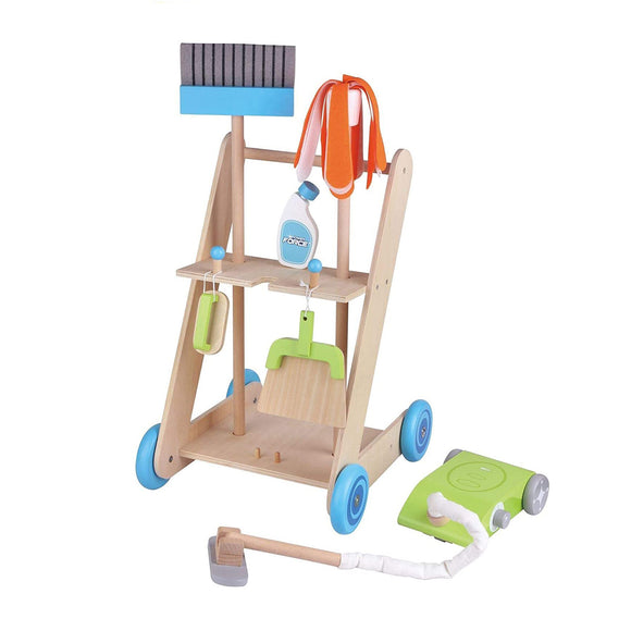 Childrens | Montessori 11 Piece Wooden Kids Cleaning Trolley | Kids Cleaning Set