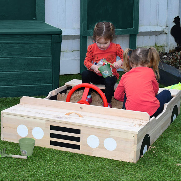 Kids Large Eco Wooden Pre-Treated Car Sandpit with Cover | 1.15m Long | 12m+
