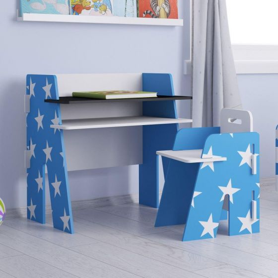 This chunky and funky star designed kids table and chair set clicks together and requires no tools to assemble