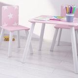 Kids Wooden Table and Chairs Set | Shooting Stars | Candy Pink & White