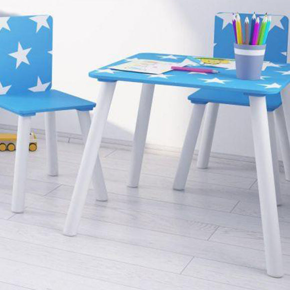 Simple to assemble, this super cute blue and white kids table and 2 chairs set is perfect for any petite picasso