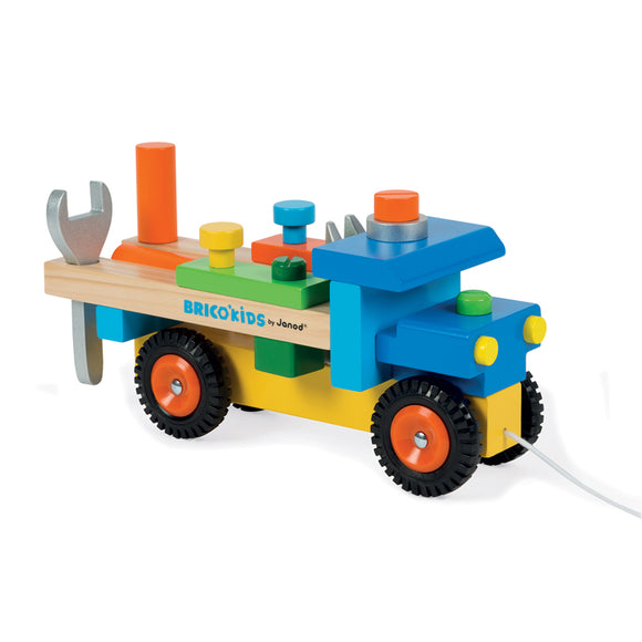 3-in-1 Wooden Montessori Pull Along Toy Truck,  Workbench and Wooden Tools  Play Set for children from 24 months