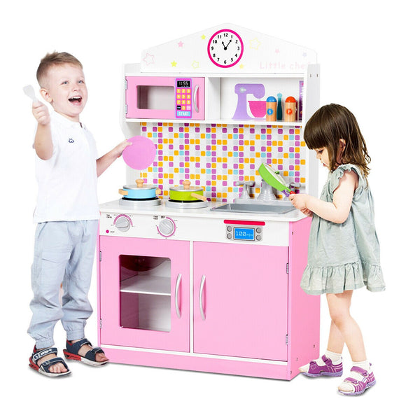 Children's | Kids Wooden Toy Kitchen including Playset | Pink & White | 3-7 Years